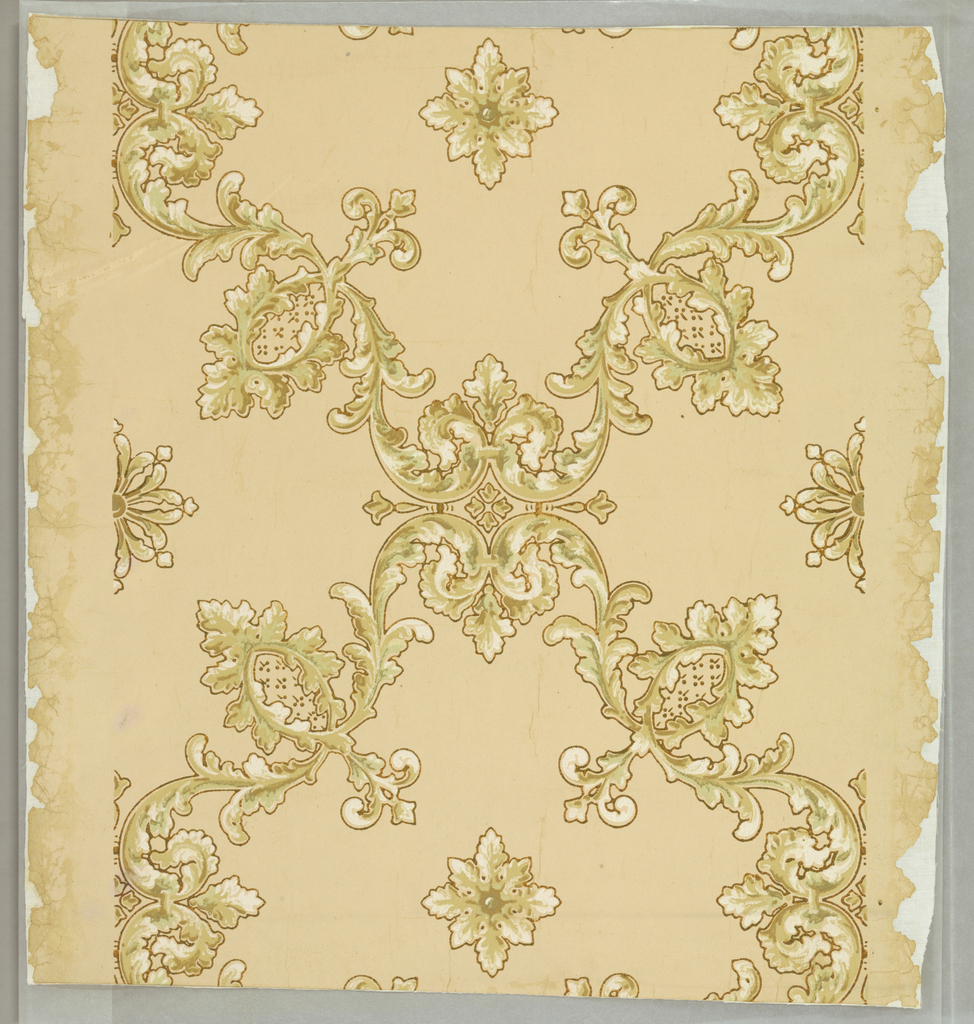 Twisting acanthus octagonal framework centered with leafy forms interlock in all-over pattern. Printed on light tan ground.