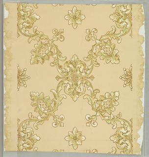 Twisting acanthus octagonal framework centered with leafy forms interlock in all-over pattern.