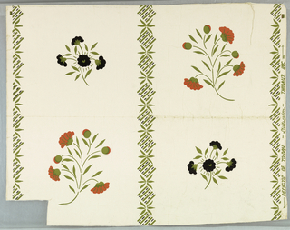 "Stencil-inspired design of red and black stylized flower sprigs in diagonal pattern separated by leaves and squares of green and black on white ground.On margin: ""Designs of Today - Stillwater - Thibaut, Inc."""
