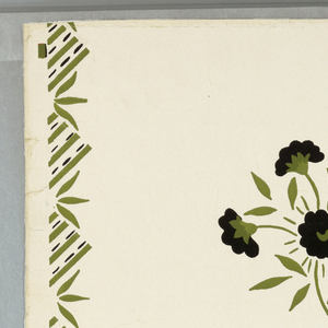 """Stencil-inspired design of red and black stylized flower sprigs in diagonal pattern separated by leaves and squares of green and black on white ground.On margin: """"Designs of Today - Stillwater - Thibaut, Inc."""""""
