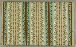 "On beige ground, floral stripes in brown, turquoise, white. Printed in margin: ""design No. 8908... CHARLEMONT Scalam--"""