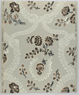 """Design composed of flowing bands simulating lace and ribbons after style of Louis XV. Within medallions are shapes of leaves and flowers. Original from old house at Williamsburg. This is an approved Colonial Williamsburg reproduction. Drop repeat. Printed in margin: """"Katzenbach and Warren, West St. Mary's Manor; Made in U.S.A. 311 run 1 Union Made."""""""