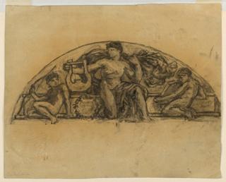 Sketch of a male figure for a lunette in the Metropolitan Opera.