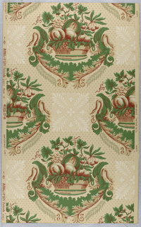 """A basket of assorted fruit which repeats in alternating rows. Between each repeat is a square stylized leaf motif in ivory. Field of paper covered with dots in diagonal rows. The design is suggestive of the Empire period. A reproduction of a paper from the old Rockwell homestead at Holland Patent near Utica, New York. Original printed prior to 1810. Printed on reverse: No. 226 CB"""". Printed in green, old red and ivory on beige field."""