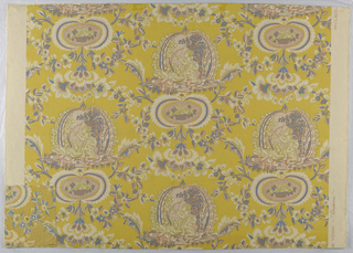 Design of flowering crossed branches with regularly placed medallions containing children at play and baskets of flowers. Printed in blue, brown and white on mustard-yellow ground. Also includes matching fabric.