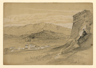 Sketch of a village with mountains in the background.