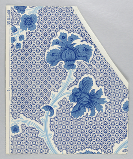 "A serpentine branching ""Indian Tree of Life"" motif with a dispersed pattern background. A reproduction of a wallpaper from the Jeremiah Lee House, Marblehead, Massachusetts. Printed by Thomas Strahan Co. Printed in shades of blue on white ground."