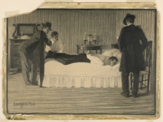 Three men stand around a bed upon which a fourth lies on his stomach, hands bound behind him.