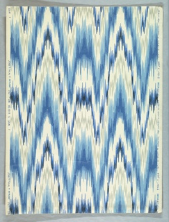 Moire or watered silk design. Printed in shades of blue, black and gray on a white ground. Pattern #1007, produced by Hobe Erwin Editions, USA, 1970's, blues and grey on white.