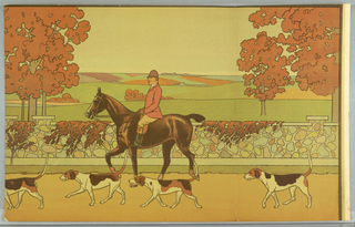 Partial scenic panel showing man on horse, with four dogs, in front of vine-covered wall, behing which are red-leaved trees and open fields.