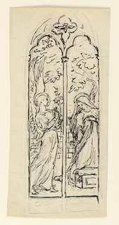 Sketch of two window panels depicting the Annunciation; Left, a young figure is standing holding a lily, Right, the figure depicting the Virgin Mary is kneeling and a garden is shown in the background.