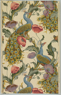 Vertical rectangle, a full width, repeating vertically, showing two repeats. Ascending serpentine vine with pink and purple poppies, and two peacocks perching with flowing tails. Printed in green, blues, reds and violets on off-white ground.