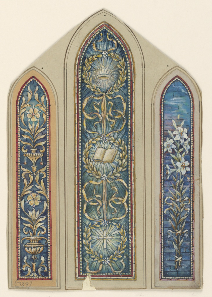 Three long, narrow panels, with pointed arched tops. Left: Formed foliated design.