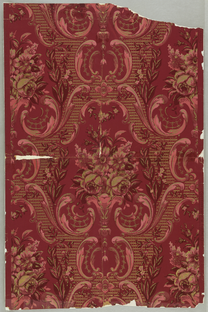 Single drop-repeating motif: a cluster of roses and other flowers enframed by scrollwork, leaves and small flowers and a diaper of lines and dots in gold. Printed in gold, pink and dark red on red ground.