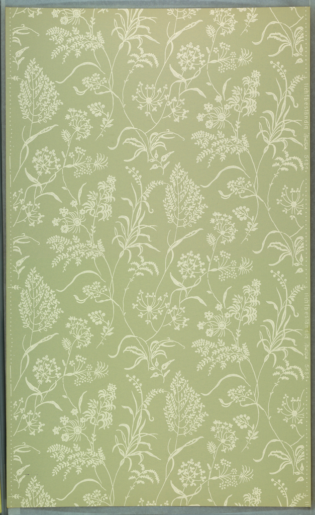 """A) Plain, pale green ground, with white stems of wild flowers and grasses; b) Same, on gray ground. Drop repeat, straight match. In margin: """"licht- bestandig Hosel Tapete 5181""""."""
