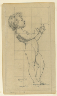 A young male figure in profile with hands extended. The paper is squared for transferring the image.