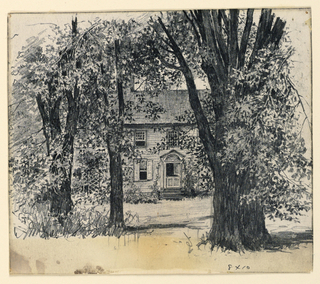 View of a house with Dutch door (top portion is shown open) through a grove of trees.  From Catalogue Card: Horizontal rectangle. View of the exterior of a Colonial type house, seen through the trees. The entrance has a portico and a dutch doorway, partially open.