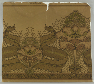 Large and small conventionalized poppy motif, alternating with large leaves and small flowers and twigs between. Browns and green on gold, slightly embossed ground, imitating tooled leather.