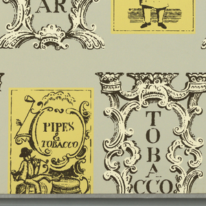 """Framed scenes of vendors of herbs, sassafras, lavender, tobacco, etc., each identified. In diagonal patterns interspersed with scrolled frames for the words: """"snuff"""", """"tobacco"""", """"sodas"""", """"sugar"""", """"matches"""", """"tonic"""", vertically arranged in part. Black, yellow and white on a gray ground. On margin: """"Exclusive Schumacher Hand Print, 'Notions and Potions'""""."""