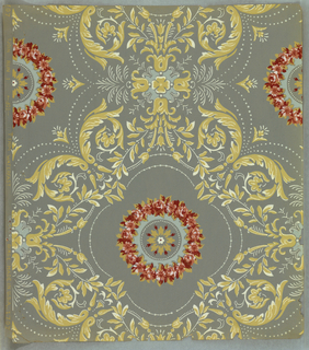 "Book, which has been unbound, contains 162 lengths of wallpapers composed of 61 different designs. Attached to the verso of each sheet is an historical resume of origin and date. All papers are printed ""Waterfast Finish"". The cover is bound with ivory colored paper simulating leather. Cover ornaments with rococo scroll printed in gilt."