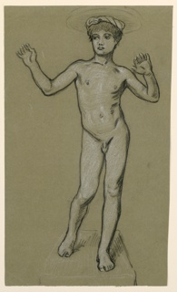 Vertical rectangle. The nude figure of a boy, standing, facing the viewer. Similar to 1955-38-45-a.