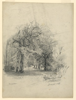 Sketch of a woodland scene with a couple walking along a winding path.