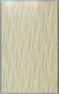"a) On pale gray ground with silver wavy vertical lines in tan enclosing elongated leaves in blue, orange and black; b) Same design in green, blue, yellow and black on pale green ground. Drop repeat. Straight match. In margin: ""Hosel Tapete 6014""."