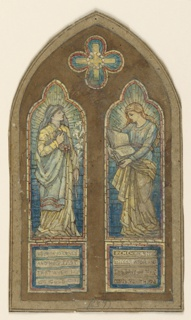 Within a compartment, with pointed arched top, two narrow stained glass panels. Left: full-length female figure, holding lilies in her left hand. Right: full-length female figure, holding an open box in her hands. Inscriptions below.