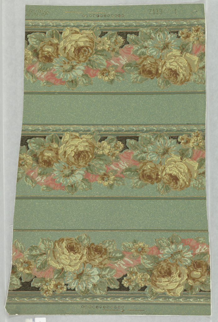 Three identical flitter borders of yellow and brown roses, aqua daisies and pink ribbons, heightened with gold, on green oatmeal-grained paper.