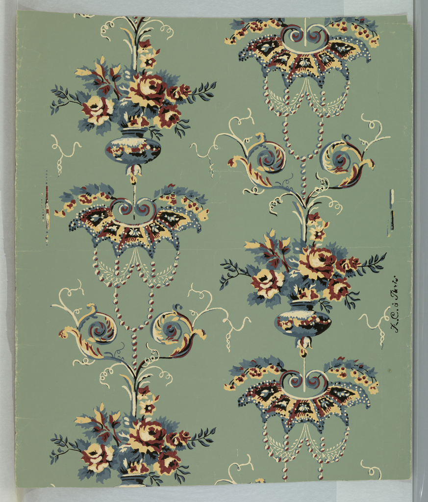 "Vertical patterns of vases filled with roses, scrolled acanthus, and umbrella-like patterns. Blue, maroon, and tan on a green ground. On margin: ""R C a Paris""."