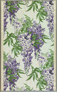 Realistically rendered wisteris in glossy light blue and lavender on light blue ground imitating moire silk. Printed on textured paper.