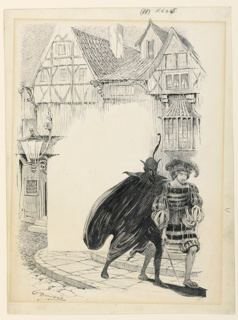 In the foreground, right, the dark figure of Mephistopheles walks beside a cavalier. Street with houses in background. Center left blank for text.
