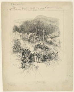 """The Union army and a canon are lined up in front of """"Pratt's Pea Ridge Store."""" The camp is in the background."""
