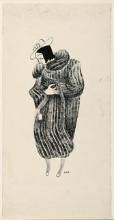 Woman trying on a fur coat. Three-quarter front view of face; she wears a hat and holds coat around her; price tag hangs from the right sleeve.