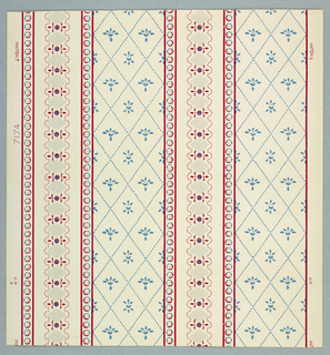 "Design composed of stripes. One has lozenges outlined in blue dashed with Empire pussy-pad centers. Smaller stripe, small deep beige medallions with red dotted scalloped border. Narrow bands of small hexagonals in red and blue. American interpretation with a blending of Directioire and Empire influences. The original comes from one of the early homes of Kentucky near Lexington. It was first made about 1810. Printed in margin: ""7174"". Printed in original colors."