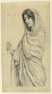 Sketch of a female figure draped in a gown and holding a staff with her right hand.