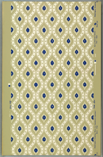 White diaper pattern enclosing blue medallion with wreath.