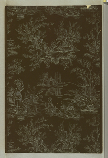 Toile design in white line on charcoal ground. Random arrangement of medallions. Drop match. Women washing clothes in a stream, a man fishing, and a shepherd playing a flute to a maiden are the major subjects.