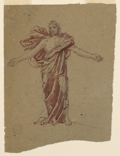 Sketch for Christ in the painting in the chancel of St. Bartholomew, New York City. Clothed in a wrapper, leaving uncovered the lower part of the left leg, the right part of the breast, the raised arms.