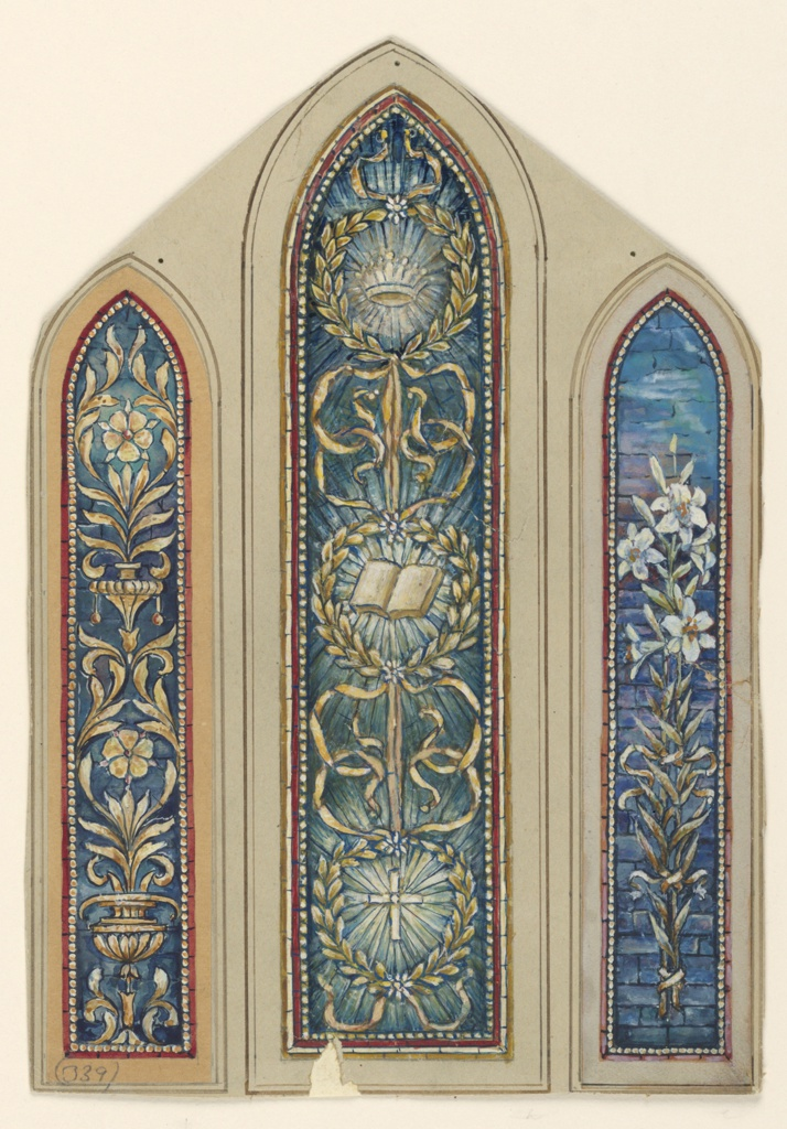 Three long, narrow panels, with pointed arched tops. Center: Three wreaths, joined together by ribbons, containing a crown, bible, and cross.