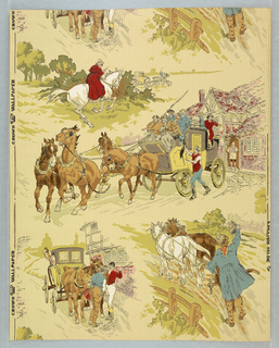 "Several old English scenes in the ""sporting print"" style. The arrangement is random, the largest motif, a stage coach leaving a country inn, extending the width of the paper. Other motifs are: a highwayman about to challenge a party in a carriage, a plowman waving his cap, and a carriage drawn up before an inn. Printed in red, white, green, yellow, brown, blue and pink on cream ground."