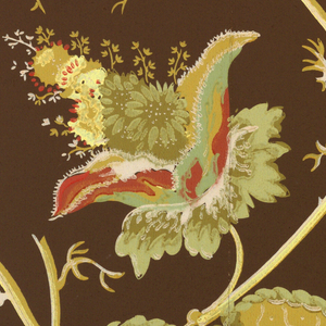 Arabesque design of foliage and flowers, in the manner of Jean Pillement's Indian designs. Major flower and leaf elements are large in scale. a) browns and blues on cream ground; b) pinks, browns, greens and yellows, on dark brown; c): greens and yellows on gray; d) greens, pinks and blues on white.