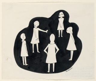 White silhouettes against black background. Five younggirls playing blind man's bluff, blindfolded, one facing front.