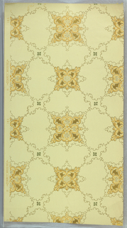 Trellis pattern with quatrefoil motifs at the intersection, with C scrolls and bellflowers. Printed on light yellow ground.
