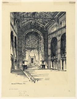 View of interior, Temple Emanu-El, New York.