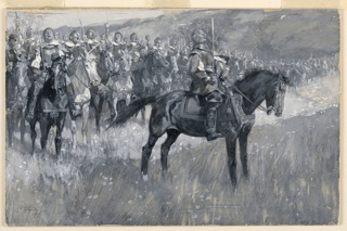 Cromwell, dressed in armor but bare-headed, is seen on horseback, his cavalry troops lined up behind him.