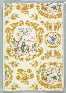 Chinoiserie design. Scenic vignettes set within frameworks created with scrolling foliage and floral motifs. One scene has woman with 2 children, standing before a pond with ducks. Mountains in background. Another, smaller scene contains 2 men fishing, with hut and 2 boats. The frames are printed in shades of yellow ocher, with multi color scenes on a white ground. Pattern #1000, produced by Hobe Erwin Editions.