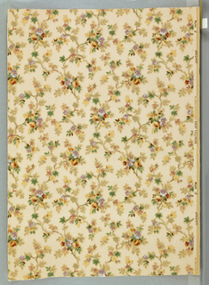 Incomplete width. All-over design of small flowering branches in colors. Beige ground.