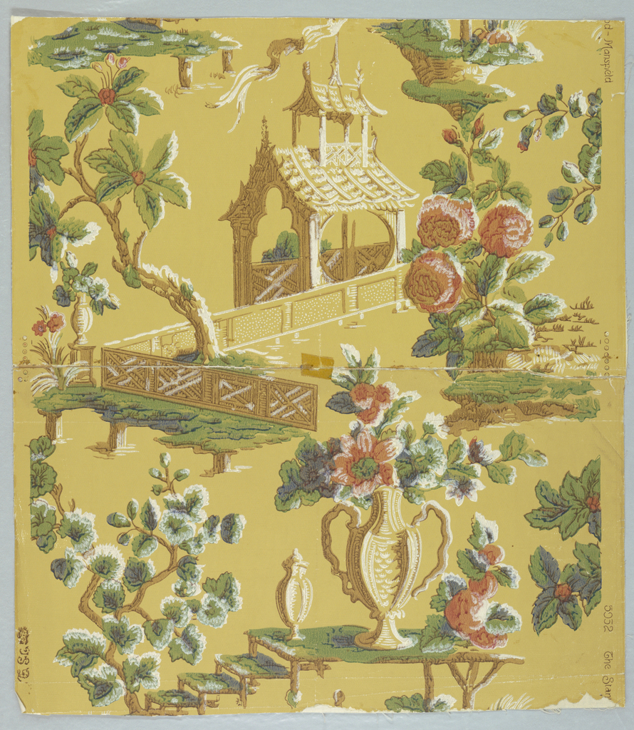 Design showing pavillion in Chinese style and garden enclosure with flowering tree and plants. Design incomplete. Printed in red, blue, green, white and brown on yellow.