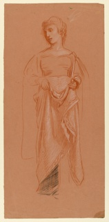 Vertical rectangle. Full-length figure of a woman, standing, facing the viewer, her head turned toward the left. Her hands are before her, holding up the folds of her garment.